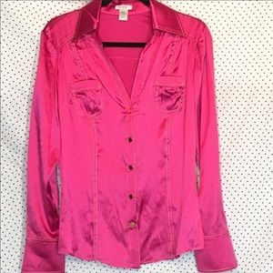 Awesome Pretty in pink silk button down top